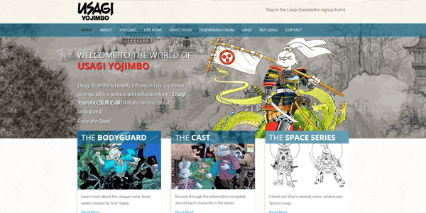 Usagi Yojimbo website design excerpt