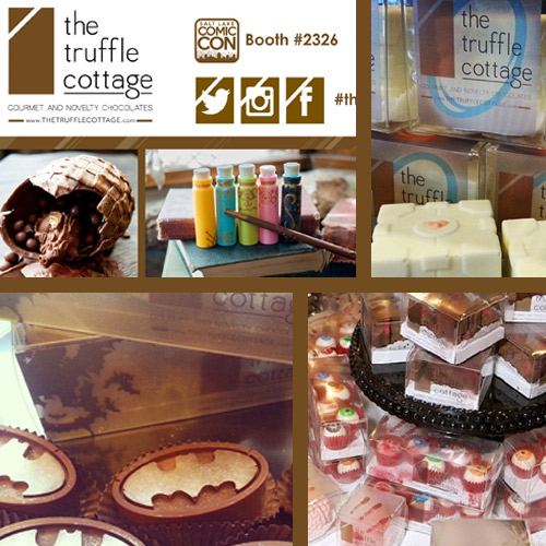 Sylized packaging, fliers and tradeshow banners for a novelty chocolatier