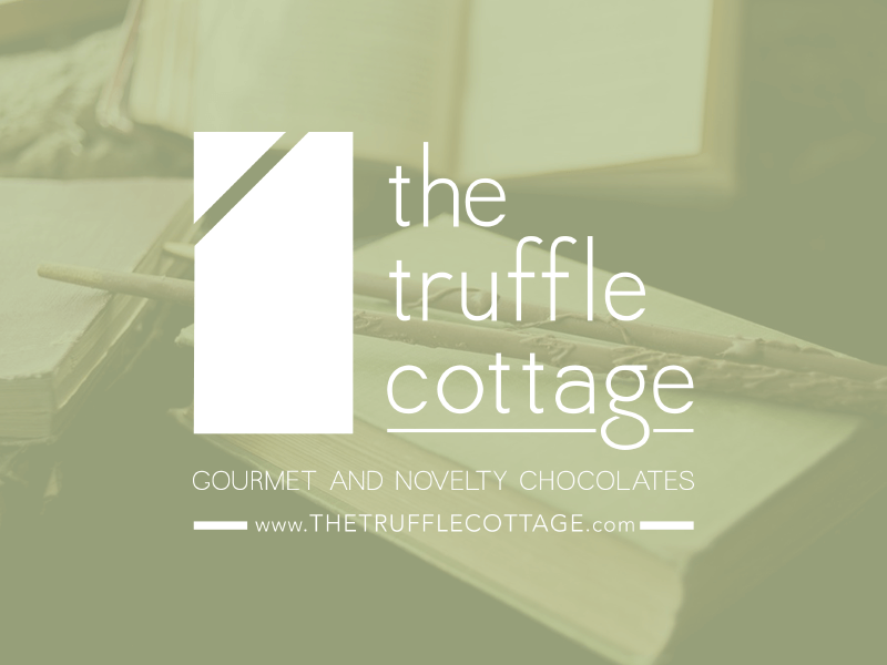 chocolate wand image with a green overlay, and white Truffle Cottage logo
