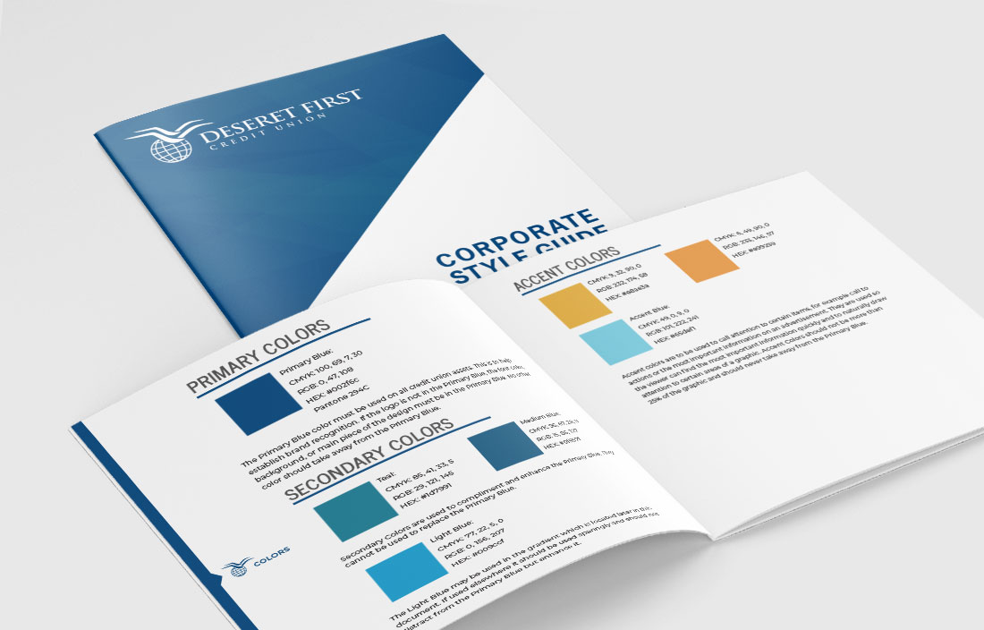 DFCU style guide booklet mockup